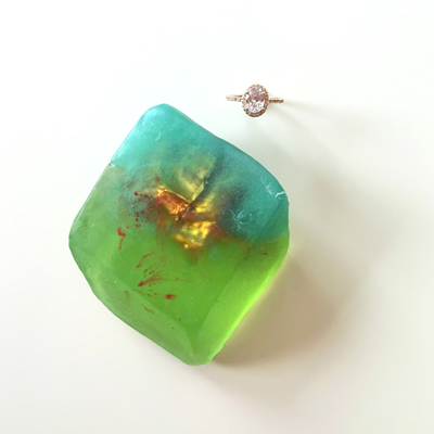 Emerald Gemstone Soap with Ring